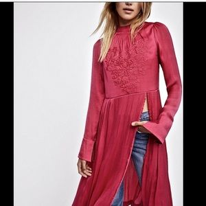 Free People Silky Embroidered Back Zip Dress S